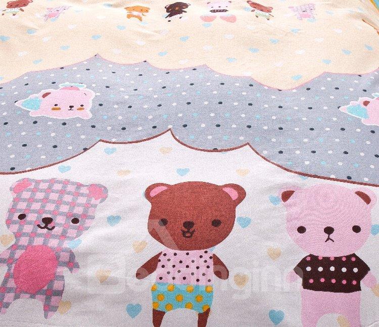 Cute Bears Kids 3-Piece 100% Cotton Duvet Cover Set