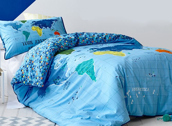 67 map of the world print kids 2 piece duvet cover set