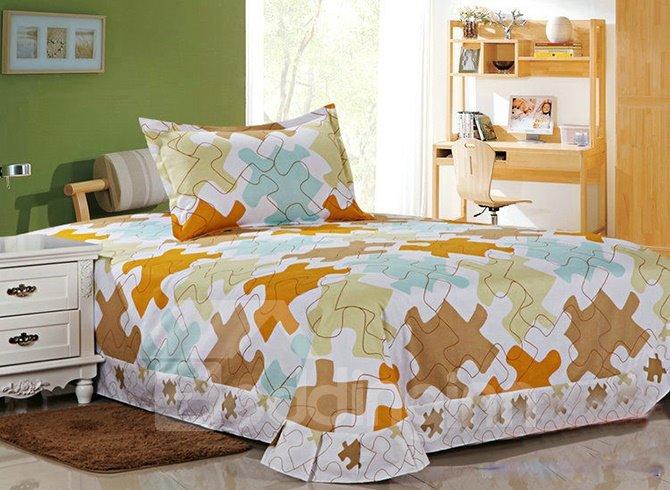 Trendy Puzzle Pattern Kids Cotton Duvet Cover Set