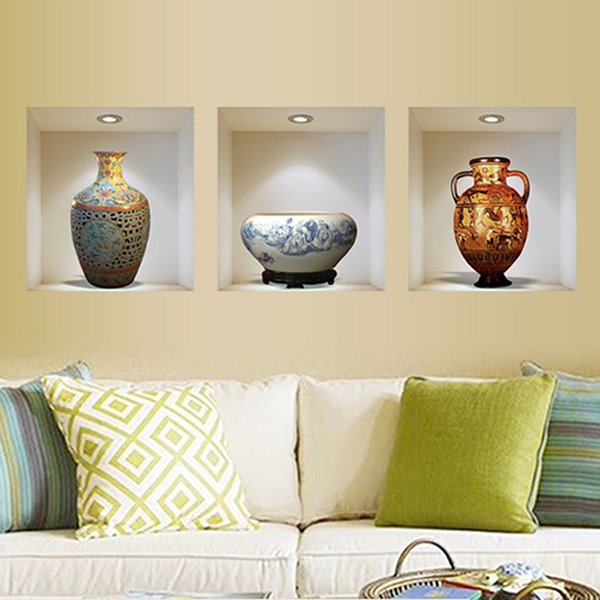 68 China Vase 3 Panel Removable 3D Wall Sticker