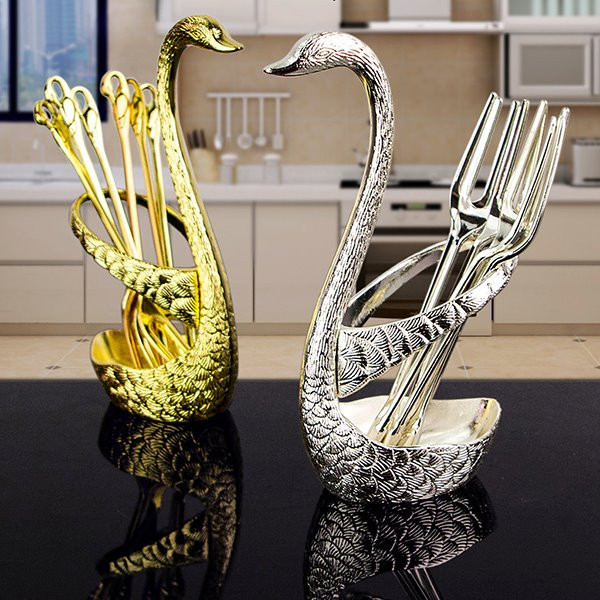 Graceful Swan Design Fruit Dessert Pick Desktop Decoration