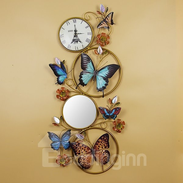 Creative Versatile Ironworks Butterfly Decoration with Mirror Wall Clock