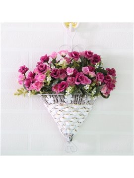 Romantic Wall Decoration Artificial Flowers Rosebud in Basket Wall Flower Sets