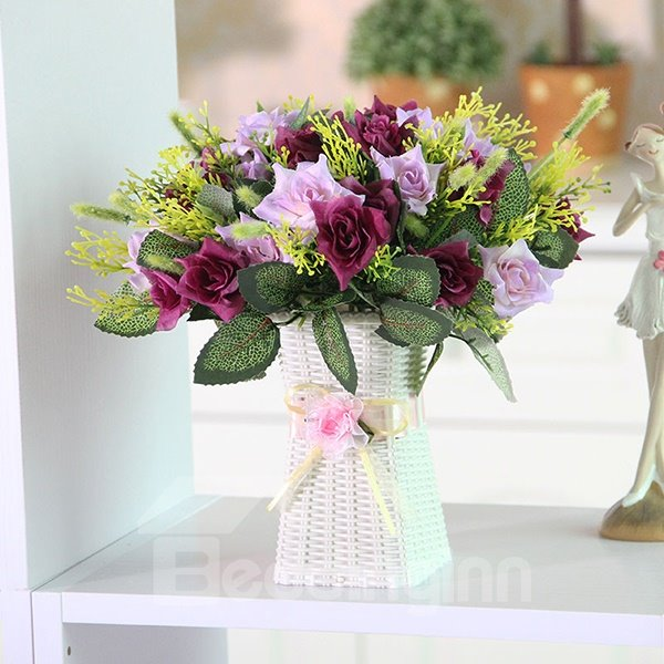 Romantic Roses with Leaves Artificial Flower Sets
