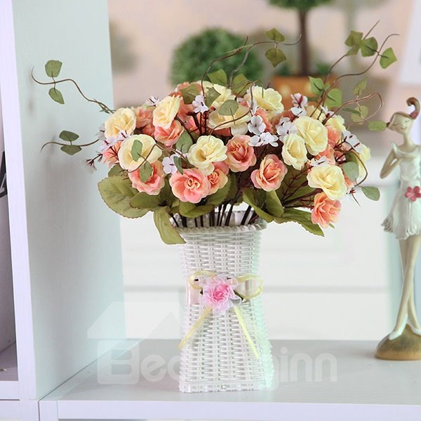 Romantic Home Table Piece Roses in Vase Flower Sets