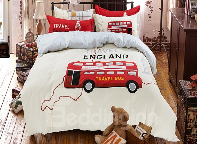 Travel England Theme Red Bus Print Kids 4-Piece Duvet Cover Set