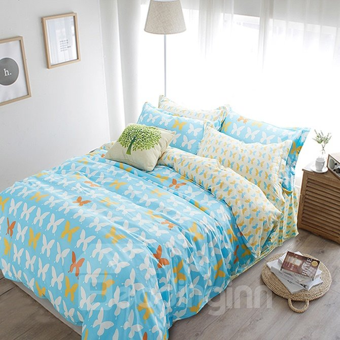 Fresh Light Blue Little Butterfly Pattern Kids Duvet Cover Set