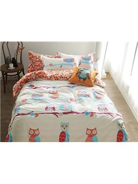 100% Cotton Lovely Owl Pattern Kids Duvet Cover Set