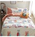 100% Cotton Lovely Owl Pattern Kids Duvet Cover Set