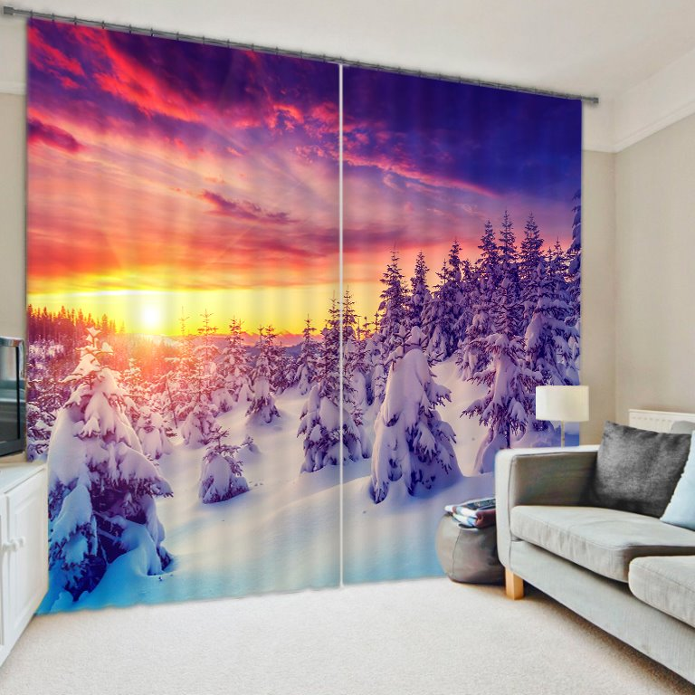 Beautiful Snowy Forest Sunrise Scenery Printing Decorative Custom Living Room 3D Curtain