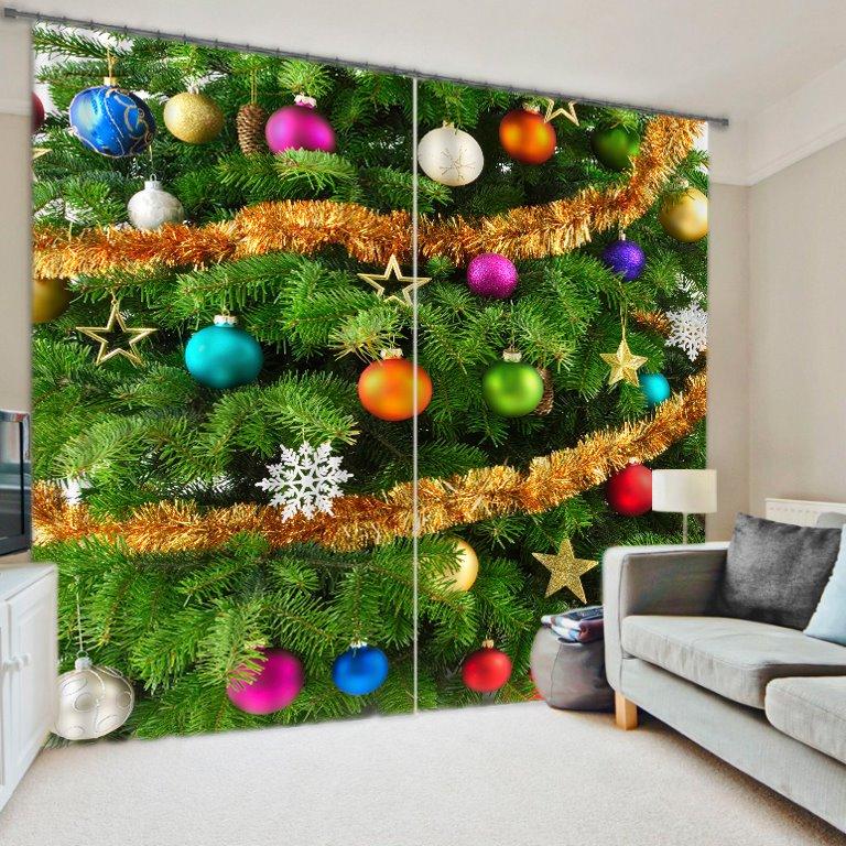 3D Christmas Tree & Ornaments Energy Saving Curtain