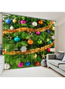 3D Christmas Tree & Ornaments Energy Saving Curtain