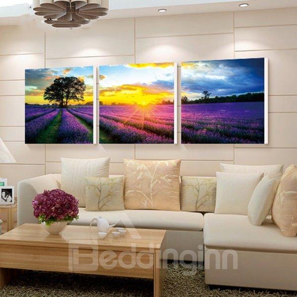 Lavender Wall Art romantic lavender field in sunrise 3-panel wall art prints