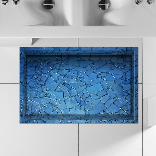 Creative Blue Broken Tile Lane Water-Proof Slipping-Preventing 3D Floor Sticker