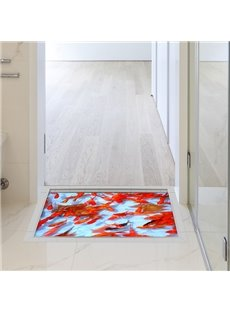 Golden Fish in Clear Water Slipping-Preventing Water-Proof Bathroom 3D Floor Sticker