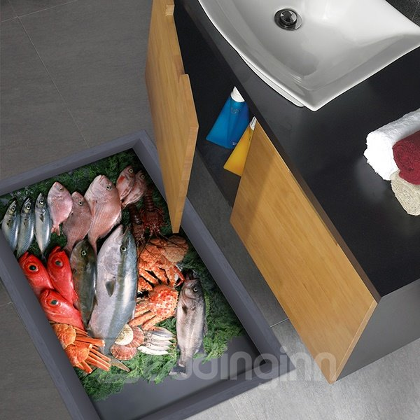 Fish and Crabs Slipping-Preventing Water-Proof 3D Floor Sticker