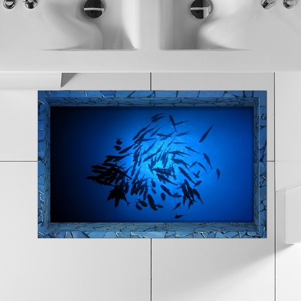 Shoal of Fish in Deep Blue Sea Slipping-Preventing Water-Proof Bathroom 3D Floor Sticker
