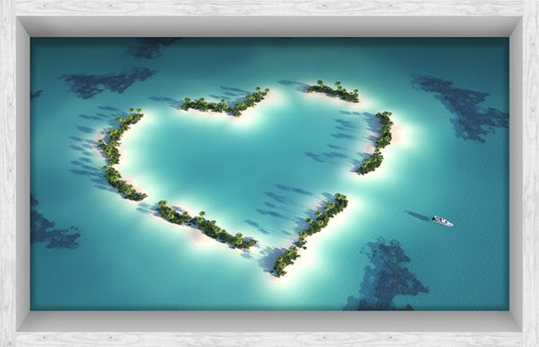 Creative Heart-Shaped Tree in Blue Sea Slipping-Preventing Water-Proof Bathroom 3D Floor Sticker