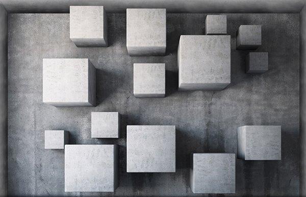 Grey 3D Cubes Slipping-Preventing Water-Proof Bathroom 3D Floor Sticker