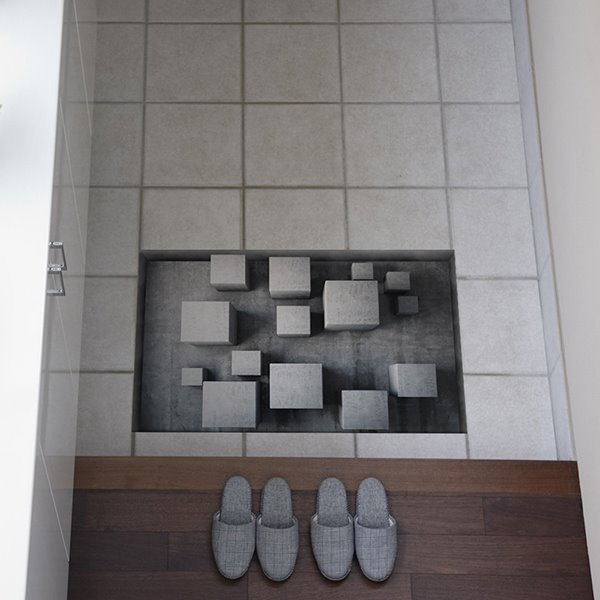 Grey 3D Cubes Slipping-Preventing Water-Proof Bathroom 3D Floor Sticker