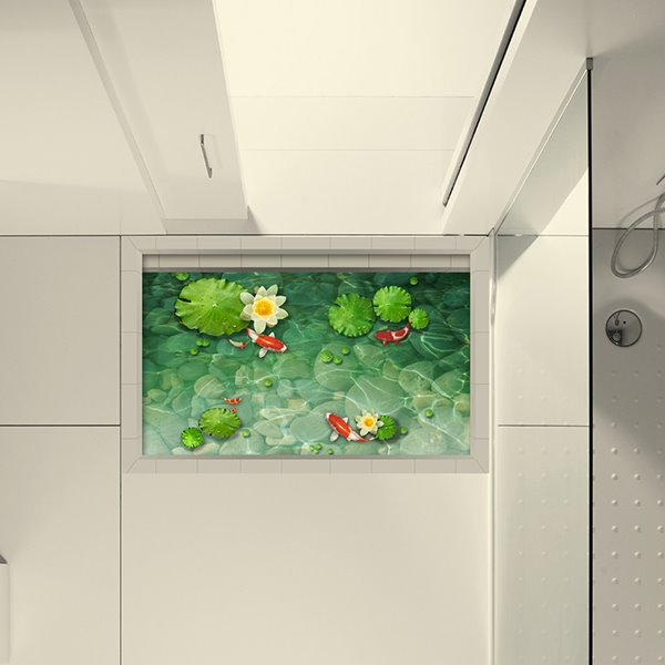 Golden Fish in Lotus Pond Slipping-Preventing Water-Proof Bathroom 3D Floor Sticker