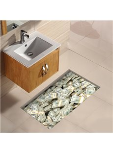 Stacks of Banknotes Slipping-Preventing Water-Proof 3D Floor Sticker