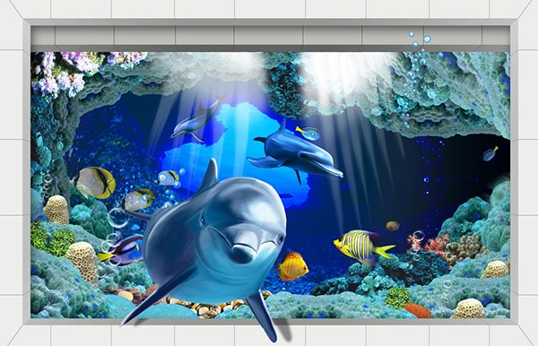 Wonderful Cartoon Sea World Slipping-Preventing Water-Proof Bathroom 3D Floor Sticker