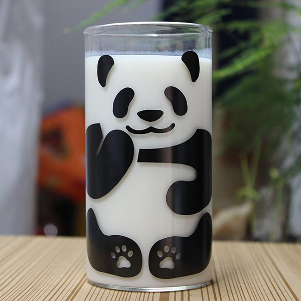 Cute Panda Pattern Glass Milk Cup Coffee Cup beddinginn