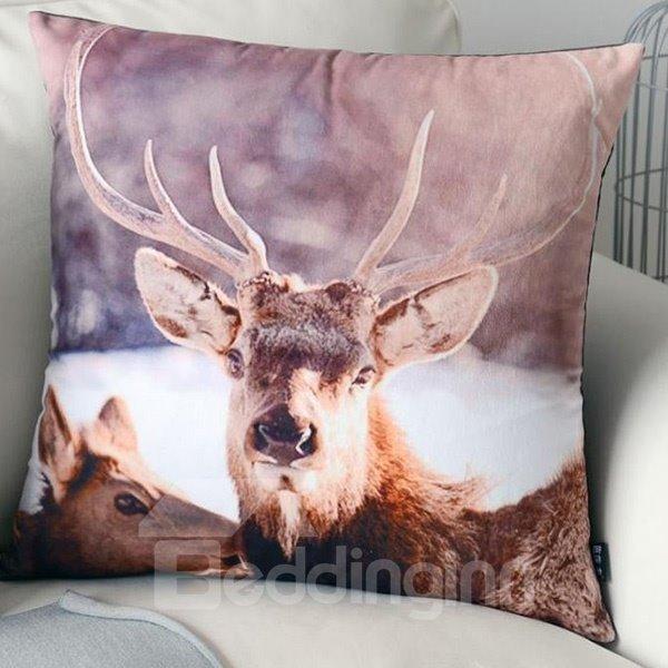 European Style Elk Print Polyester Throw Pillow