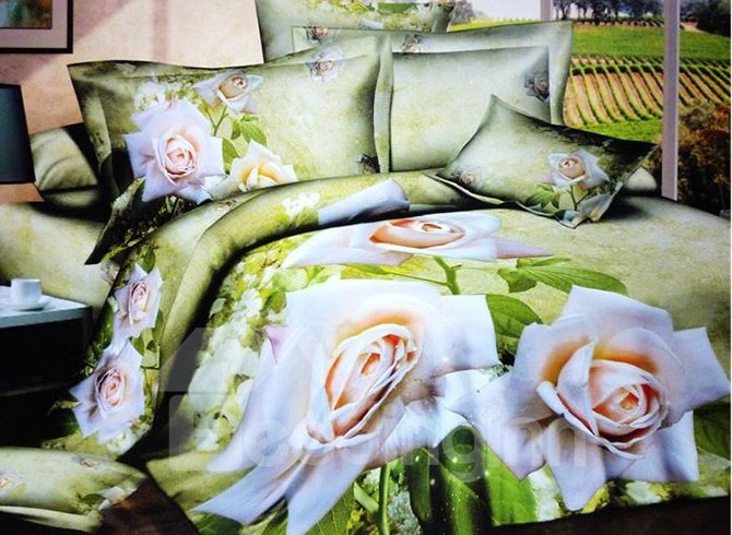 Pastoral White Flowers Green Background 4-Piece Cotton Duvet Cover Sets