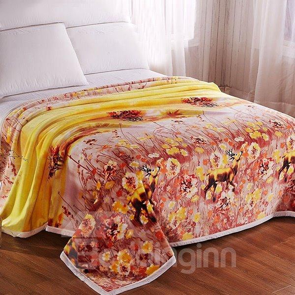 Lovely Deer Wandering in Flowers Print Polyester Blanket