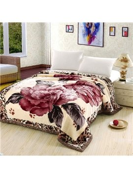 Super Warm Red Flower Print Thick Camel Blanket