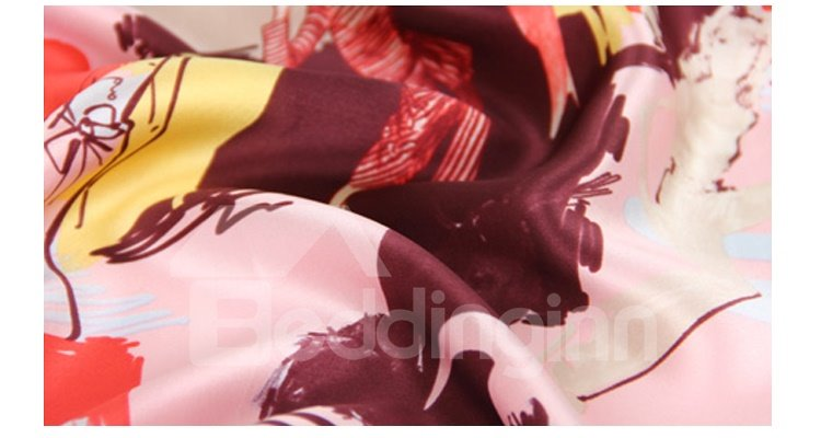 Delicate Oil Painting Mulberry Silk Square Scarf