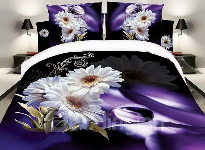 White Daisy Print Noble Purple 4-Piece Polyester Duvet Cover Sets