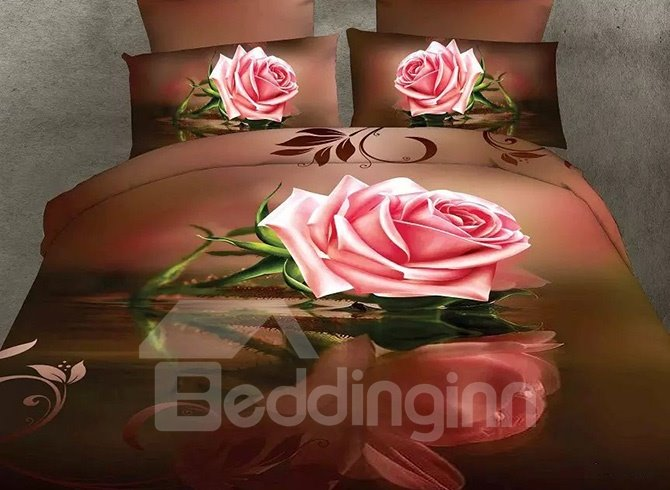Pink Rose with Brown Background Polyester 4-Piece Duvet Cover Sets
