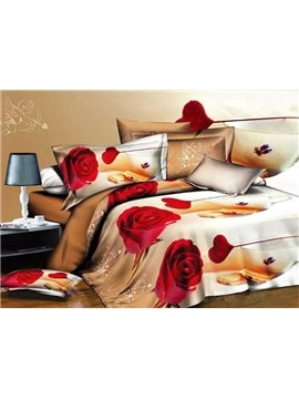 Cute Cupid and Red Rose Design Champagne Polyester 4-Piece Duvet Cover Sets