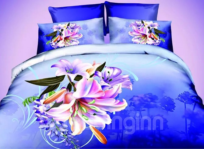 Well-made Vibrant Lily Design Dark Blue 4-Piece Polyester Duvet Cover Sets beddinginn