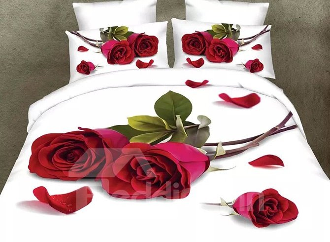 Romantic Red Rose and Petals Design 4-Piece Polyester Duvet Cover Sets