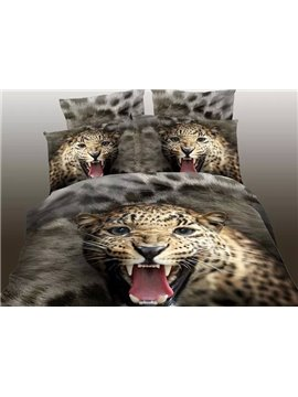 Domineering Roaring Leopard Print 4-Piece Polyester Duvet Cover Sets