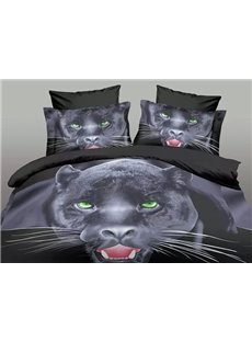 Cool Panther Print Black Polyester 4-Piece Duvet Cover Sets