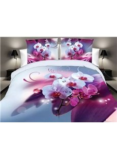 White and Rosy Butterfly Orchid Print Polyester 4-Piece Duvet Cover Sets