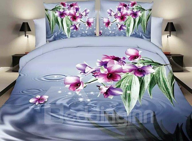 Vibrant Rosy Flowers Design Blue 4-Piece Polyester Duvet Cover Sets