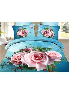 Fancy Pink Flowers Print Sky Blue 4-Piece Polyester Duvet Cover Sets