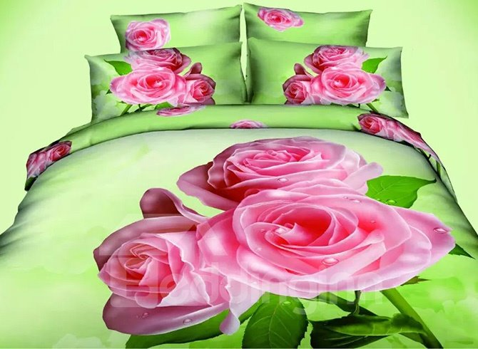 Gorgeous Pink Flowers Print Fresh Green Polyester 4-Piece Duvet Cover Sets
