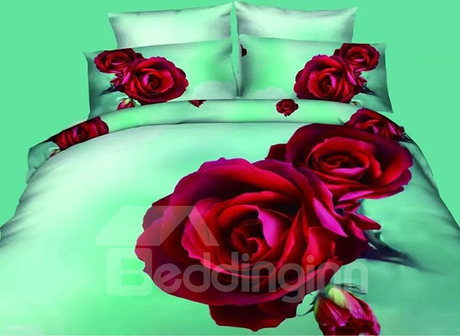 Vivid Red Roses Design Refreshing Green 4-Piece Polyester Duvet Cover Sets