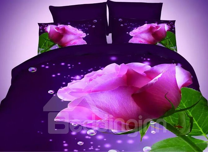 Blooming Rosy Flower Print Dark Blue 4-Piece Polyester Duvet Cover Sets