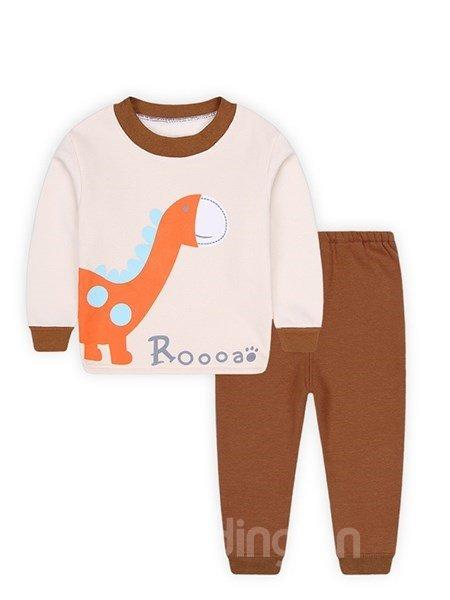 Lovely Dinosaur Print Round Collar Thickened Kids Pajamas
