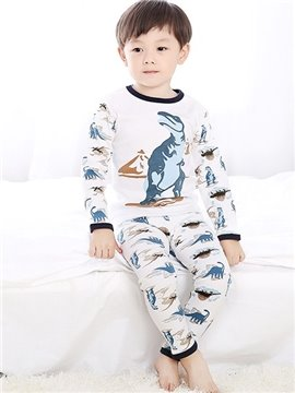 Dinosaur Prints Round Collar Kids Cotton Pajamas