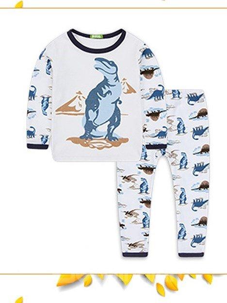 Dinosaur Prints Round Collar Kids Cotton Pajamas