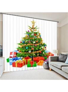 Christmas Tree Print Energy Saving 3D Curtain